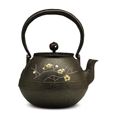 100%日本堂口直供-长闲菊梅花镶嵌铁壶