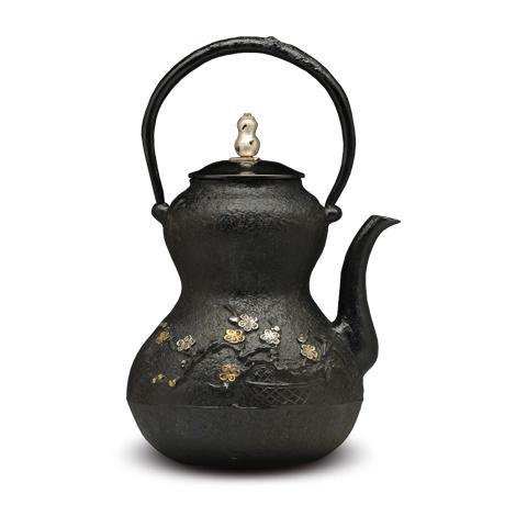 100%日本堂口直供-葫芦形松竹梅铁壶