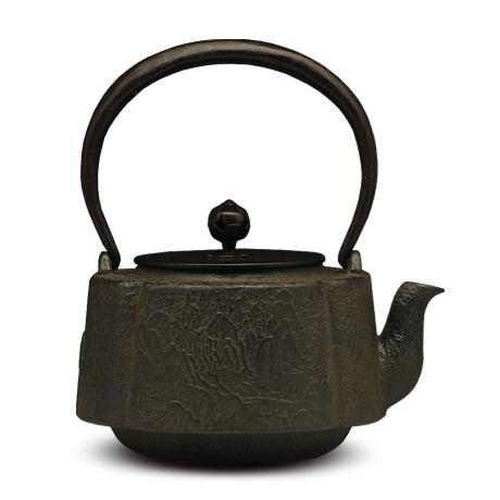 100%日本堂口直供-南瓜型山水纹饰壶