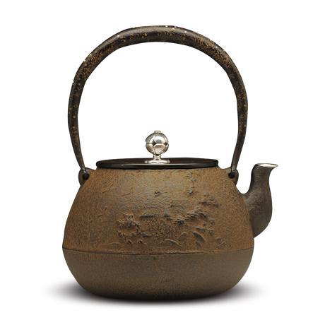 100%日本堂口直供-山水地纹纯银镶嵌砂铁壶