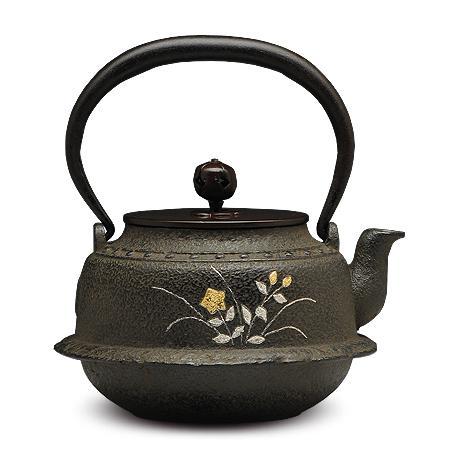 100%日本堂口直供-金银草花镶嵌铁壶