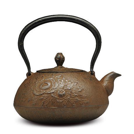 宝珠型砂铸铁壶 牡丹