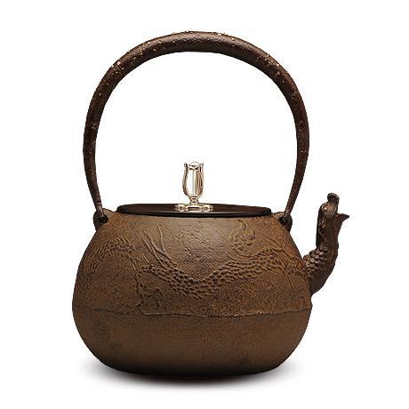 100%日本堂口直供-龙口龙地纹铁壶