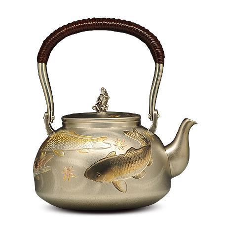 100%日本堂口直供-雕金鲤鱼银壶
