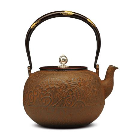 100%日本堂口直供-提梁纯金镶嵌丸形龙纹铁壶