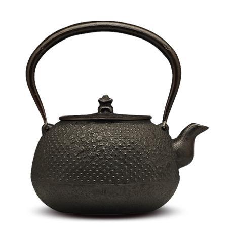100%日本堂口直供-佐藤勝芳 丸形带樱砂铸铁壶