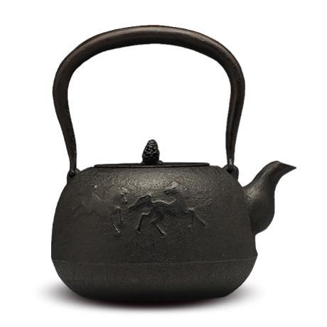 100%日本堂口直供-及川齐 丸南部形马纹铁壶
