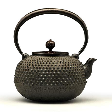 100%日本堂口直供-菊地政光  平丸形小霰铁壶