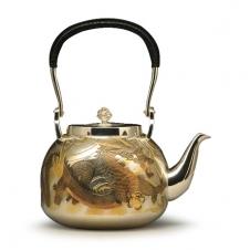 龙虎雕金银壶