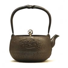 100%日本堂口直供--丸龙砂铸铁壶(银摘)