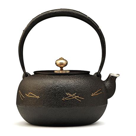 100%日本堂口直供-平丸形松叶铁壶