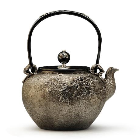 100%日本堂口直供-龟文堂复刻家人物砂铁壶