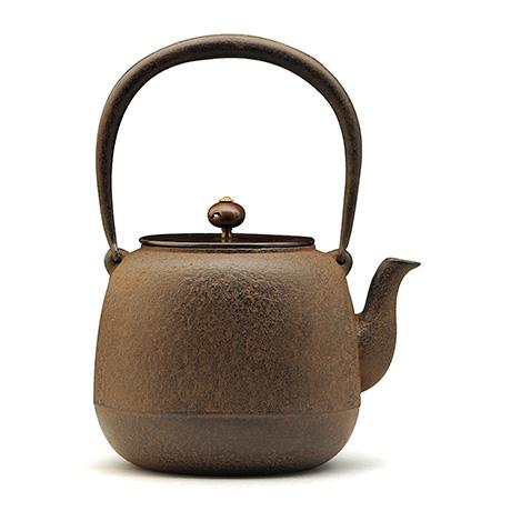 100%日本堂口直供-枣形素文铁壶(铜盖 )