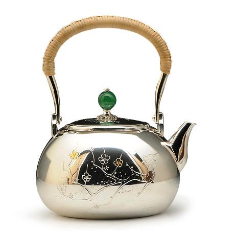 100%日本堂口直供-桃形梅花纹银壶