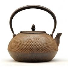 100%日本堂口直供--长文堂 驹形霰纹铁壶
