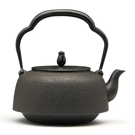 100%日本堂口直供-万代屋形素纹铁壶