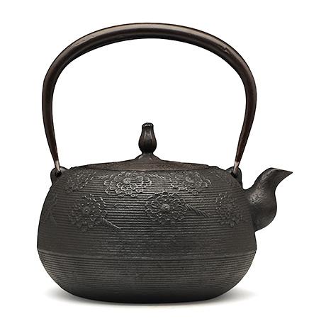100%日本堂口直供-枣形系目樱纹铁壶