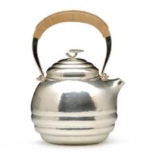 100%日本堂口直供--竹影堂 荣真造 锤起银壶