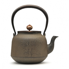 100%日本堂口直供--真形竹纹铁壶