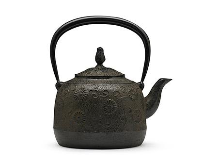 100%日本堂口直供-金野和司 立口唐菊铁壶