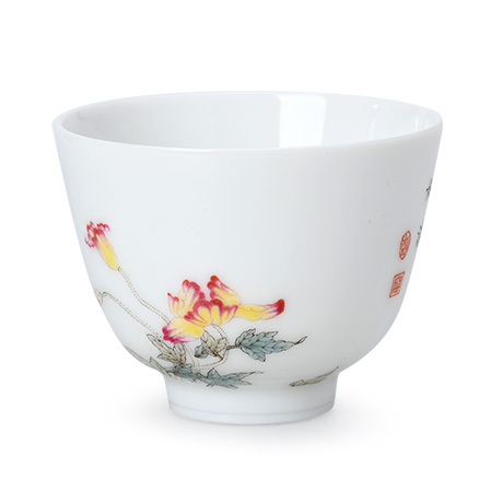 罂粟花图罗汉杯