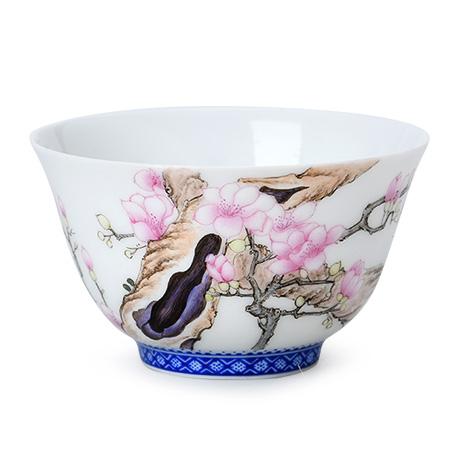 玉兰图广口茶碗杯