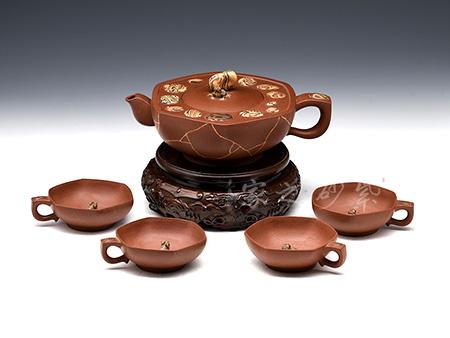 青蛙莲心茶具(六件)