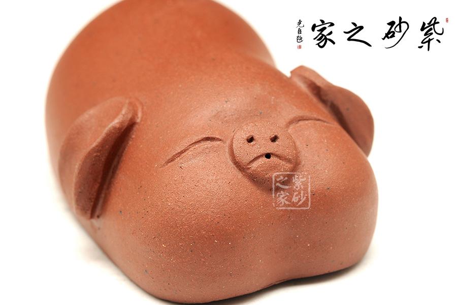 高档宜兴紫砂壶【小猪】 | 紫砂壶名家【雕塑摆件】