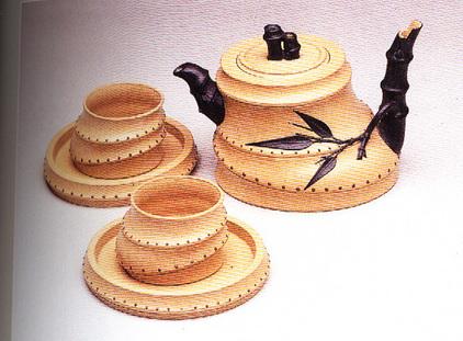 双色五头竹根茶具