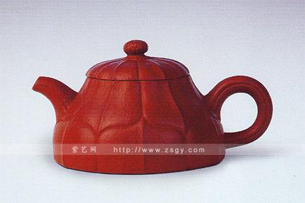 红粗砂菱花壶