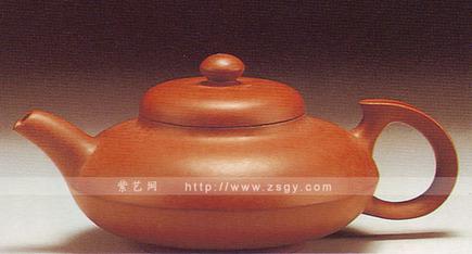 红泥折腹壶