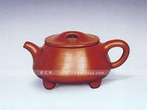腰圆红泥石瓢壶