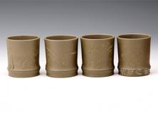 梅兰竹菊组杯(豆青泥)