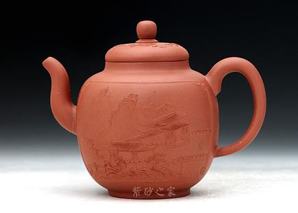 宜兴紫砂壶-泥绘仿清代老宫灯-谈敏