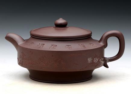 宜兴博亿堂娱乐壶-大名周盘(茶禅山水)-原矿紫泥-谈敏
