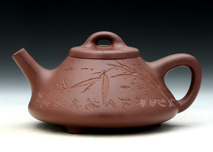 宜兴紫砂-子冶石瓢(大)-原矿底槽青-吴建平