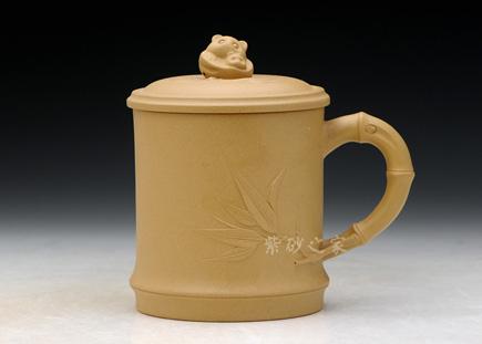 紫砂周边-熊猫竹节杯(段泥)-原矿段泥-盖杯