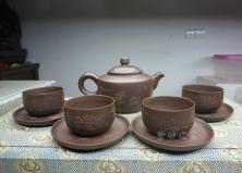 9件泥绘茶具