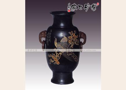 黑料孔雀瓶