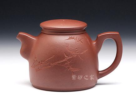 宜兴紫砂壶-警魂(厉上清刻绘)-原矿底槽青-董亚芳
