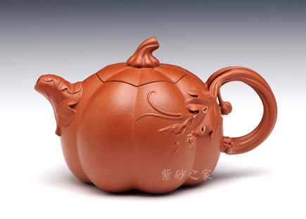 宜兴紫砂壶-小南瓜-原矿黄金朱泥-陆利华