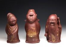 宜兴紫砂壶-描金福禄寿(套)-原矿紫泥-雕塑摆件