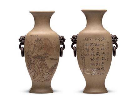 刻山水诗文花瓶