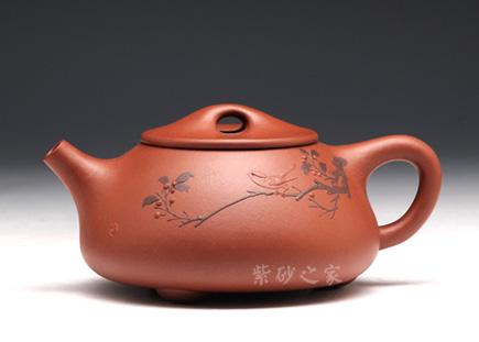 泥绘景舟石瓢(秋趣)