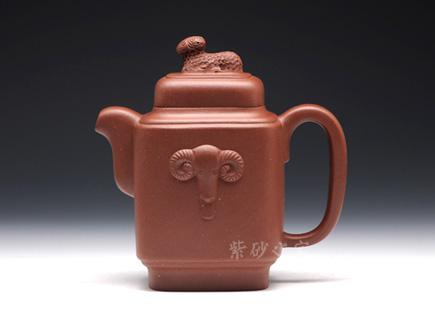 宜兴紫砂壶-三羊开泰-原矿清水泥-丁洪顺