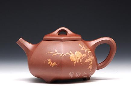 宜兴紫砂壶-六方石瓢(点彩)-王国新