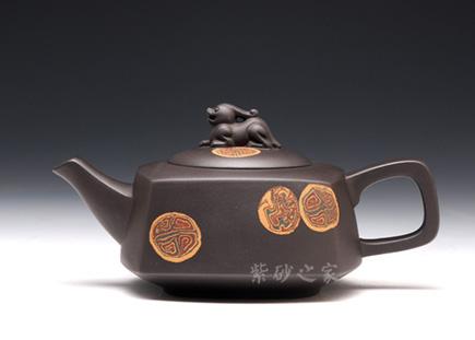 宜兴紫砂-玉方壶-黑泥-陆利华