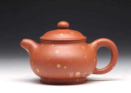 宜兴紫砂壶-描金陶韵壶-红砂-王杏军