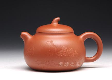 宜兴紫砂-茄段壶-朱砂泥-王杏军