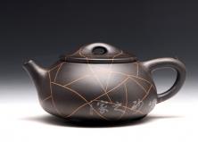 宜兴紫砂壶-开片石瓢-黑泥-陈正初